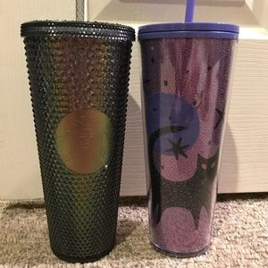 Starbucks black pearl studded & cat tumbler set